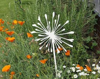 Set of 2 Allium Flower Garden Stakes in Off White