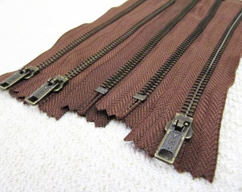 7inch - Milk Chocolate Brown Metal Zipper - Brass Teeth - 5pcs