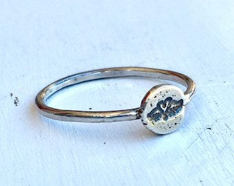 Size 7.25 - Sterling Silver Winged Heart Ring - Stacking Ring - Hand Stamped - Love - Mothers Day Gift - Ready to Ship