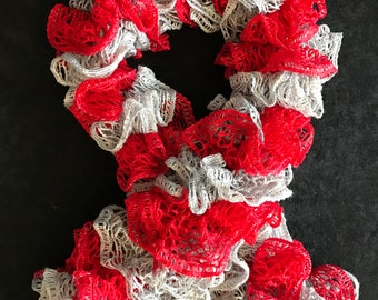 Red & Gray Ruffle Scarf