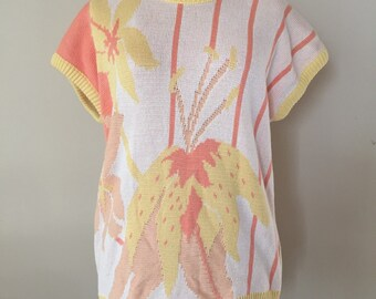 Vintage Pastel Floral Knit Sweater 80s 90s