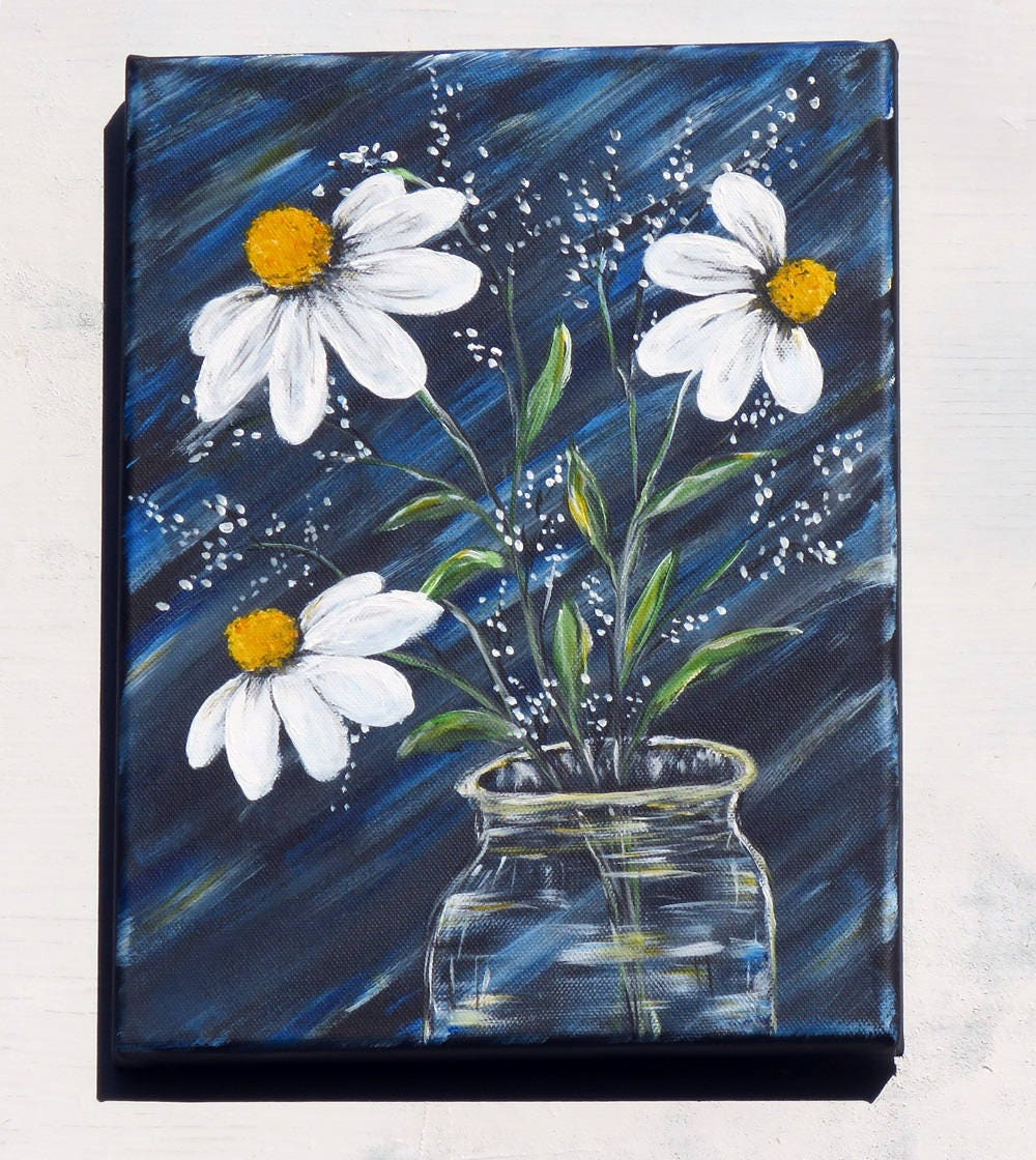 White daisy flowers in clear vase original canvas painting baby white daisy flowers in clear vase original canvas painting baby breath flower wall art beautiful flower painting with acrylic paints izmirmasajfo
