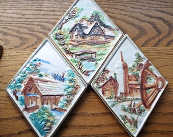 Japanese Lefton Diamond Shaped Wall Plaques With Country Scenes