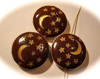 Cloisonné bead moon and stars pendant bead Cloisonne pendant focal bead ONE large metal pendant bead celestial sky design moon and stars
