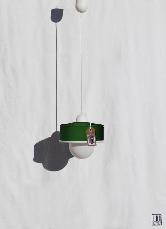 Hanging / pendant / ceiling lamp bottle green color ... eco friendly & handmade : recycled from  coffee can ! LED light bulb included