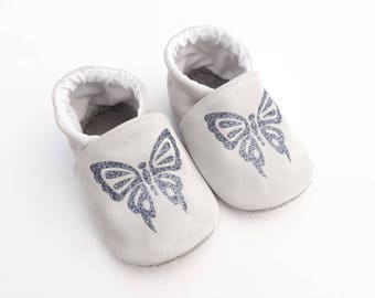 Genuine leather grey-white with gray glitter Butterfly booties