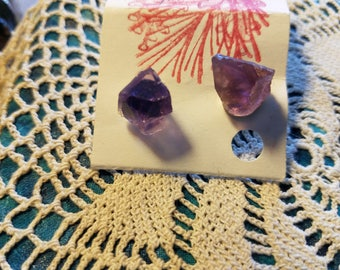 Amethyst cubed natural earring posts