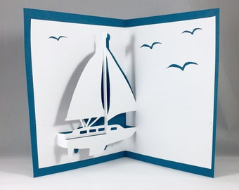 Kirigami 3D Birthday Cards with Sailboat Cards | Pop Up Cards Boat Card | Sailboat Thank You | Sailboat Invitation Nautical Card Blank Cards