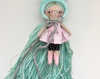TEENY TINY Glasses girl handmade cloth doll  **6 inches tall**