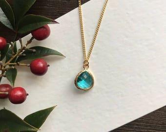 Blue Zircon Necklace, Birthstone Necklace, Birthday Gift, Valentines Gift, Stocking Stuffer