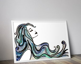 Woman outline with blue hair, Digital download art print