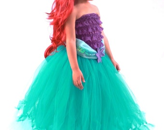 3 PIECE SET: Ready to Ship - Tutu Skirt - Teal - Mermaid Halloween or Birthday Costume - Tidal Wave Teaser - 5-6 Youth Girl