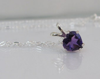Amethyst Heart Necklace, February Birthstone, Amethyst Pendant, Amethyst Gemstone Jewelry, Sterling Silver, Purple Necklace, Valentine Gift