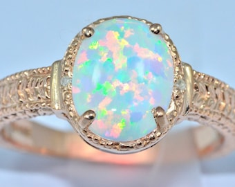 14Kt Yellow Gold Plated Opal & Diamond Oval Ring