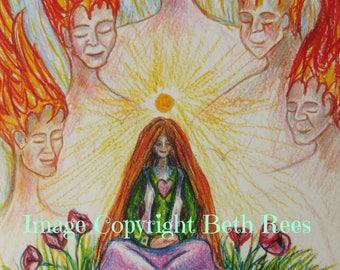 Meditation Greeting Card, Heart Chakra, Pagan Greeting Card, Blank Card, Birthday Card,  Printed Art Card, Eco Card, Spiritual Art Card