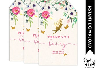 Fairy Favor Tag / Fairy Thank You Tag / Garden Favor Tag / Flower Favor Tag / Pixie Favor Tag / Elves Butterfly Favor Tag FY01