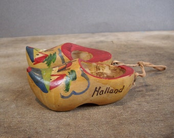 Vintage Miniature Wooden Clogs Holland Souvenir