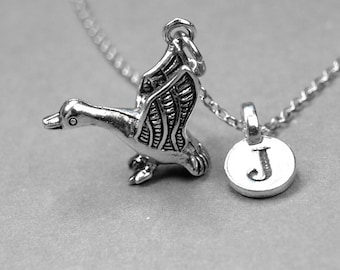 Goose Charm Necklace, bird charm, 3D antiqued silver plated pewter, initial necklace, initial hand stamped, personalized, monogram