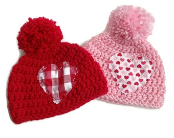 crochet handmade knit hat beanie with pom pom and fabric heart