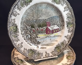 Friendly Village Dinner Plate Made in England Johnson Bros. School House