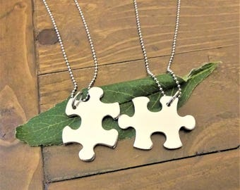 One PUZZLE PIECE necklace - hand stamped with up to 6 characters  - BFF necklace - 1 autism necklace - choose your chain