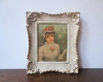 Vintage '50s Victorian, Parisian Pretty Lady Print, Shabby Plastic Frame, Signed Denise