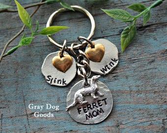 Ferret Mom Key Chain, Ferret Key Chain, Personalized Ferret Key Chain, Gift for Ferret Lover, Ferret Gift