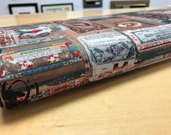Tim Holtz Fabric by the Yard - Dapper - Cigar Boxes in Multi - Quilter's Cotton