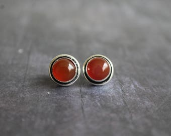 Sterling Silver Carnelian Earrings, Studs, 8mm Carnelians, Chakra Earrings, Gift