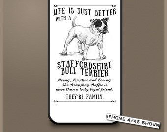 Staffordshire Bull Terrier dog phone case cover iPhone Samsung ~ Can be Personalised
