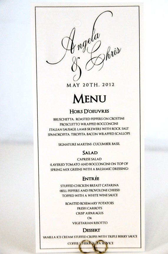Wedding menu card tea length calligraphy style with custom for Menu templates for weddings