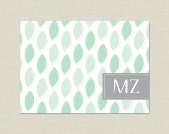 Personalized Stationery Set / Green Leaves Note Cards