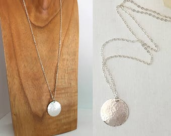Sterling Silver Necklace, Long Silver Necklace, Hammered Large Disc Pendant