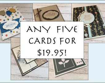 Greeting Card Set, Handmade Card Set, Five Cards, Your Choice, Any Card in the Shop, Discounted Price