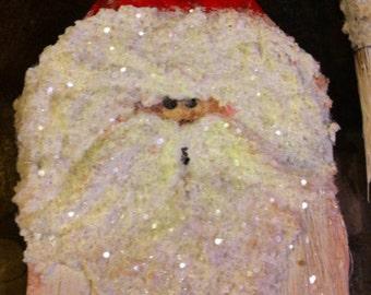Santa hand painted Paint Brush ornament, Christmas ornament, seasonal ornament , holiday ornament