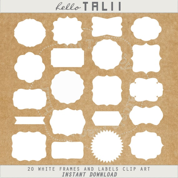 White Frames Clipart DIGITAL WHITE LABELS Clip Art 20 Vintage Labels Tags Banners Square Scallop Circles School Elements Wedding Set