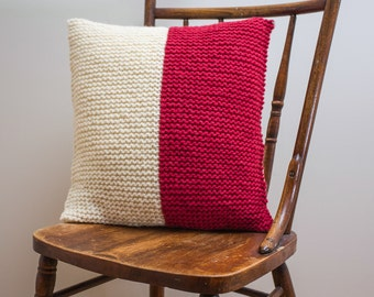 """Nautical Signal Flag """"H"""" Pillow Cover - knit in wool"""