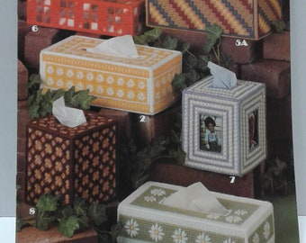 Vintage 1981 Leisure Arts Tissue Box Covers for Plastic Canvas/Plastic Canvas Magazine, Plastic Canvas Pattern, Vintage Plastic Canvas