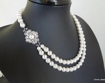 bridal necklace, pearl rhinestone necklace, Statement Bridal necklace, Wedding Rhinestone necklace, swarovski crystal necklace, CLAUDE
