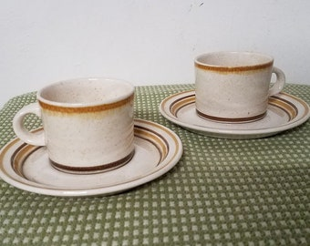 Vintage Pair of Erin Stone Bendan Flat Cup and Saucer