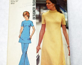 Vintage, 1970s, Sewing Pattern,  Simplicity 9761, Misses, Dress or Tunic and Pants, Size 10, 1970s Pattern, OLD2NEWMEMORIES