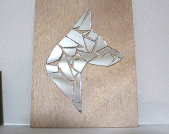 Hand-Made Broken Mirror Mosaic Dog Breed Head Silhouette