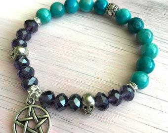 Pentacle silver skull bracelet with natural gemstones