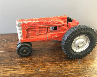 Red Hubley Jr Tractor Kiddie Toy / die Cast Farm Toy / vintage collectible