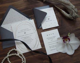 Classic Modern Polka Dot Gold Foil Wedding Invitation, Rose Gold Invitation, Gold Foil Swirl Romantic Wedding Invite, Chic Wedding, Luxe 30