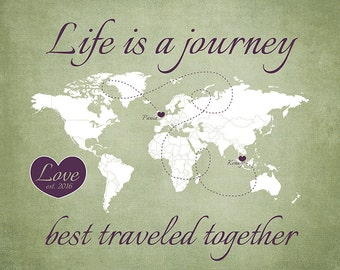 Long Distance, Love Map, Life is a Journey, Travel Wedding Gift, Bridal Shower, Earth Tones, Sage Green, Plum, Anniversary Gift, Boyfriend