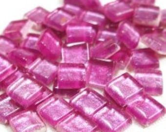 """12mm (1/2"""") Metallic Hot Pink Glass Tiles/Mosaic Tiles/Supplies/Crafts"""