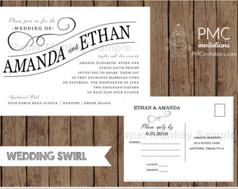 Custom Printed Wedding Invitations - 1.15 each with envelope