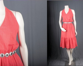 Halter Dress Red dots dotted Summer Party dressHippie women size XS or S extra small or small