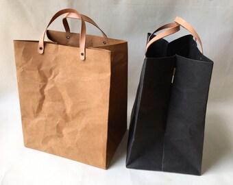Kraft Paper Minimal Lunch Bag with Handles/Shopping Bag/Market Bag/Handbags/Washable Bag/Eco Bag